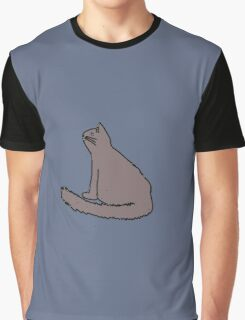 Gray Sitting Cat Looking Up with Blue Background Graphic T-Shirt