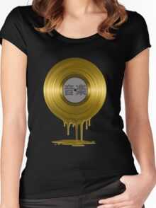 Melting Gold Record Women's Fitted Scoop T-Shirt