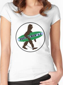 Squatchin Surfboard Bigfoot Women's Fitted Scoop T-Shirt