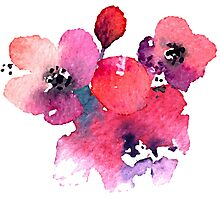 Coral Pink Purple Watercolor Flowers Photographic Print
