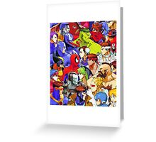 Clash of Super Heroes Greeting Card