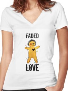 Voodoo Doll Faded Love Motif Women's Fitted V-Neck T-Shirt