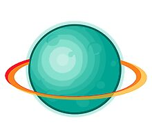 Green Gas Planet with Ring Photographic Print