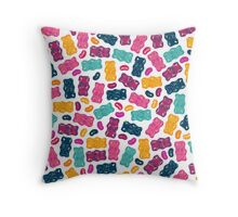 Sweet Jelly Beans & Gummy Bears Pattern Throw Pillow