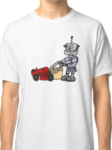 Cool Funny Robot Mowing the Lawn Classic T-Shirt
