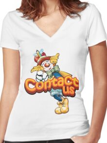 Funny Clown Animinated Image Women's Fitted V-Neck T-Shirt