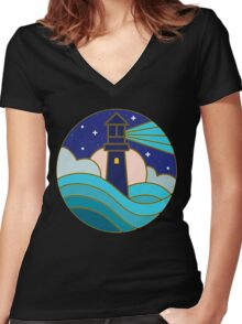 Lighthouse in the night Women's Fitted V-Neck T-Shirt
