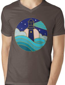 Lighthouse in the night Mens V-Neck T-Shirt