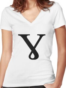 Greek Letter - Baby Gamma Women's Fitted V-Neck T-Shirt