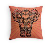 Orange Elephant sunburst Throw Pillow
