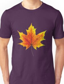 Multicolored maple autumn leaf Unisex T-Shirt