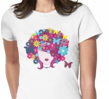 Floral Butterfly Hair Woman (Art Design) Womens Fitted T-Shirt