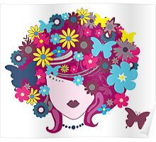 Floral Butterfly Hair Woman (Art Design) Poster