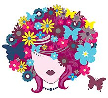 Floral Butterfly Hair Woman (Art Design) Photographic Print