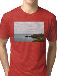 Little Red Sailboat Approaching Dunnottar Castle Scotland  Tri-blend T-Shirt