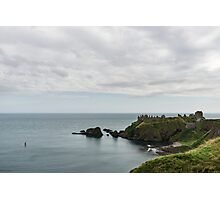 Little Red Sailboat Approaching Dunnottar Castle Scotland  Photographic Print