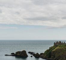 Little Red Sailboat Approaching Dunnottar Castle Scotland  Sticker