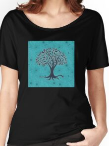 Mandala yoga tree of life blue one Women's Relaxed Fit T-Shirt
