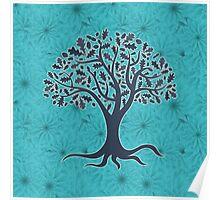 Mandala yoga tree of life blue one Poster