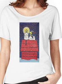 sleeping snoopy christmas Women's Relaxed Fit T-Shirt