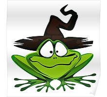Frog Wearing Witch Hat Poster