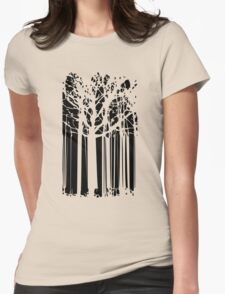 Magic abstract forest black and white art Womens Fitted T-Shirt