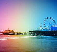 Santa Monica Pier Rainbow Colors by stine1