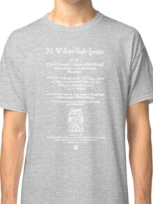 Shakespeare King Lear Frontpiece - Simple White Version Classic T-Shirt