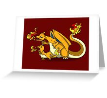 Charizard and Baby Charmander Fire Lesson Greeting Card
