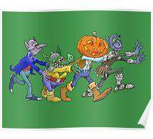 Cartoon illustration of halloween creatures doing the congo. Poster