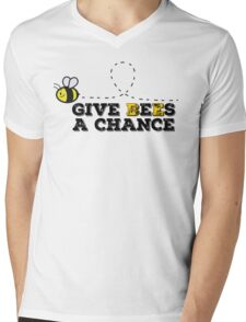 Give Bees A Chance Peace John Lennon Beautiful Quotes Nature Mens V-Neck T-Shirt