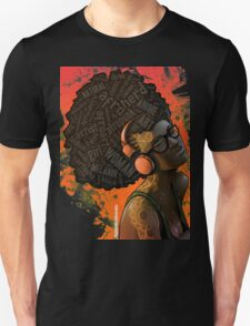 Afro Nerd Girl II (Orange) Unisex T-Shirt