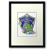 Grey Cat Link Eats Navi Framed Print