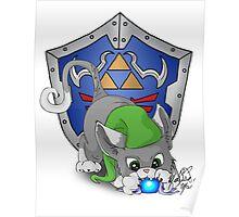 Grey Cat Link Eats Navi Poster