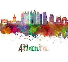 Atlanta V2 skyline in watercolor by paulrommer