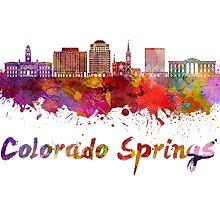 Colorado Springs V2 skyline in watercolor by paulrommer