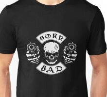Born Bad Bikers Vintage Skull With Guns  Retro Design Unisex T-Shirt