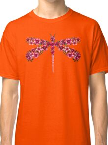 Watercolor Floral Dragonfly with Little Bright Burgundy Flowers Classic T-Shirt