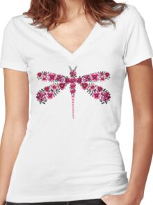 Watercolor Floral Dragonfly with Little Bright Burgundy Flowers Women's Fitted V-Neck T-Shirt