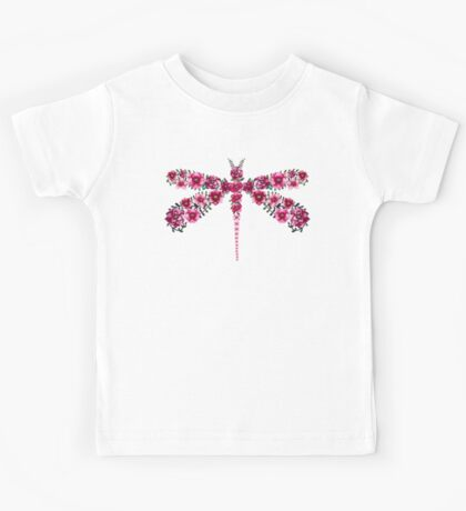 Watercolor Floral Dragonfly with Little Bright Burgundy Flowers Kids Tee