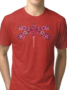 Watercolor Floral Dragonfly with Little Bright Burgundy Flowers Tri-blend T-Shirt