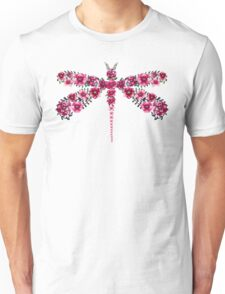 Watercolor Floral Dragonfly with Little Bright Burgundy Flowers Unisex T-Shirt