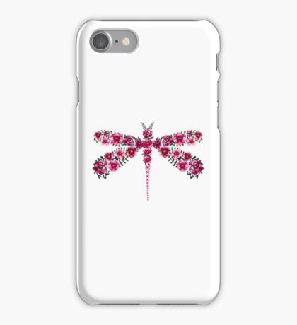 Watercolor Floral Dragonfly with Little Bright Burgundy Flowers iPhone Case/Skin