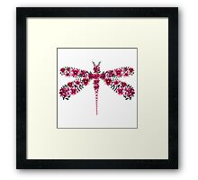Watercolor Floral Dragonfly with Little Bright Burgundy Flowers Framed Print