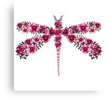 Watercolor Floral Dragonfly with Little Bright Burgundy Flowers Canvas Print