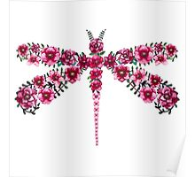 Watercolor Floral Dragonfly with Little Bright Burgundy Flowers Poster