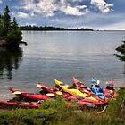 Kayaks at Tobin Bay - Isle Royale National Park by Kathy Weaver