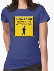Regular Walking Caution Sign Womens Fitted T-Shirt