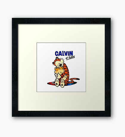 Calvin and Hobbes Hugs  Framed Print
