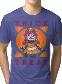 TRICK OR TREAT- GIVE ME CANDY Tri-blend T-Shirt